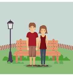 Couple cartoon in park design vector