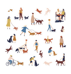 crowd tiny people walking their dogs on street vector image