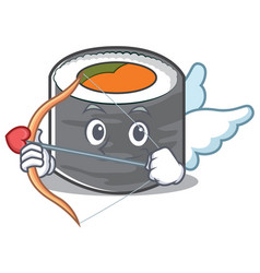 Cupid sushi cartoon character style vector