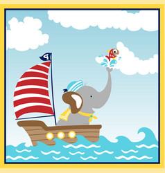 cute animal sailor cartoon on sailboat vector image
