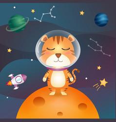 Cute tiger in space galaxy vector