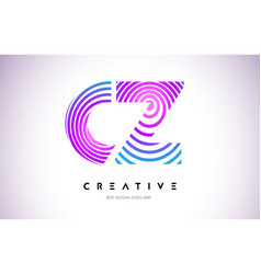 Cz lines warp logo design letter icon made with vector