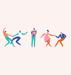dancing couples people card cartoon characters vector image