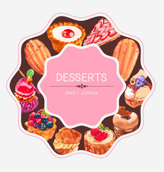 Dessert frame design with pie cupcake doughnut vector