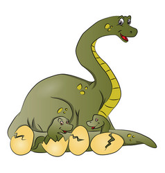 dinosaur mother with newborn in cracked eggshells vector image