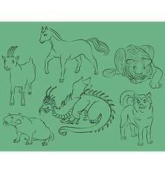 Dog dragon goat horse rat tiger vector image