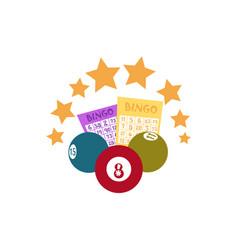 flat bingo lottery balls tickets stars vector image