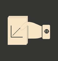 Flat black and white folder with documents in hand vector