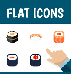 Flat icon maki set of oriental maki seafood and vector