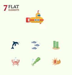 Flat icon marine set of cancer playful fish vector