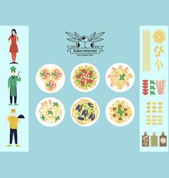 flat italian restaurant infographic concept vector image