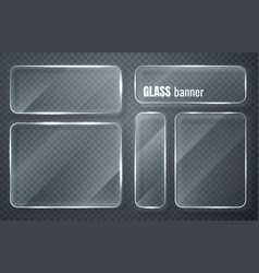Glass plates set banners on transparent vector