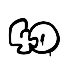 Graffiti bubble number 40 forty in black vector