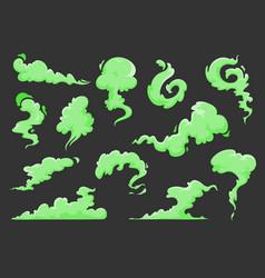 Green bad smell cartoon clouds stink odor smoke vector