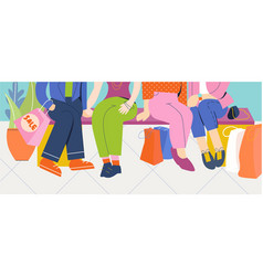group of people sit in the store after shopping vector image