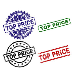grunge textured top price stamp seals vector image