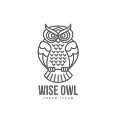 hand drawn stylized owl bird icon vector image
