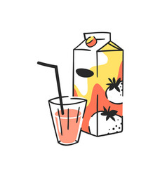 Hand drawn summer set of juice pack and glass vector