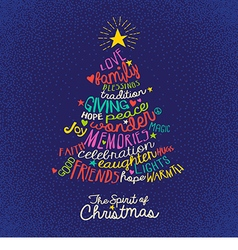 Handwritten word cloud Christmas tree card vector