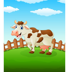 happy cow cartoon on the field vector image
