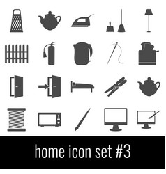 home icon set 3 gray icons on white background vector image