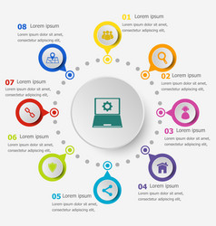 Infographic template with seo icons vector
