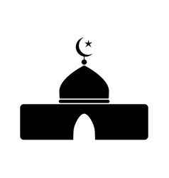 Islamic mosque icon black and white pictograph vector
