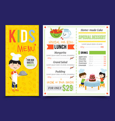 Kids restaurant menu design vector