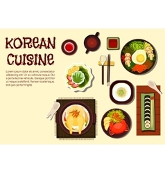Korean refreshing summer dishes flat icon vector