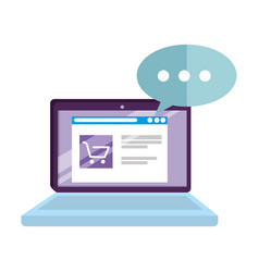 Laptop with speech bubble and ecommerce vector