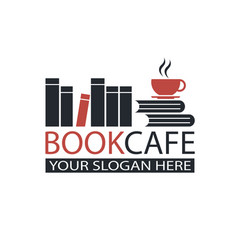 Literary cafe emblem vector