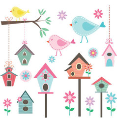 Little BirdBird HousesBirds and FlowersBranches vector image