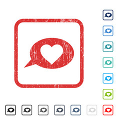 Love message balloon icon rubber watermark vector