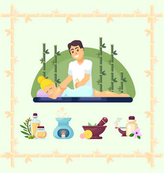 massage room spa masseuse makes cosmetic vector image