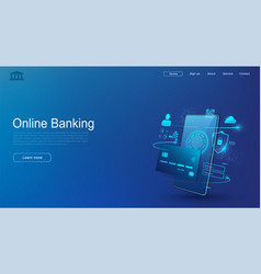 mobile phone and internet banking secure online vector image