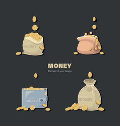 money dollars coins cash in bags purse wallet vector image