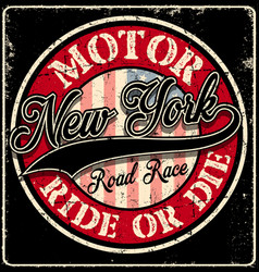 New york typography motor club vector