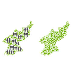 People and flora north korea map vector