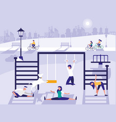 People in park with playground isolated icon vector