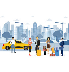 people waiting taxi vector image