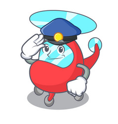 Police helicopter character cartoon style vector