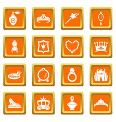 princess doll icons set orange square vector image