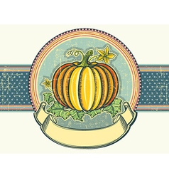 Pumpkin Vintage label on old paper vector