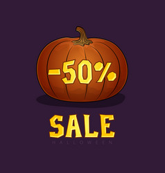 pumpkin with a discount fifty percent vector image