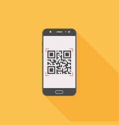 Qr code on mobile phone flat design icon with long vector