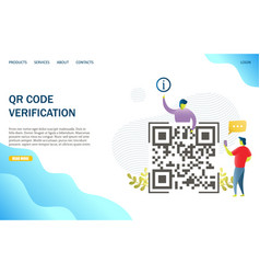 Qr code verification website landing page vector
