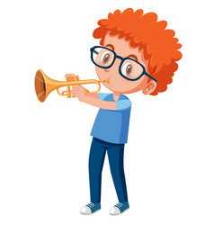 Red haired boy playing trumpet vector