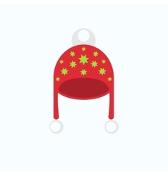 Red winter warm hat with figure in flat style vector
