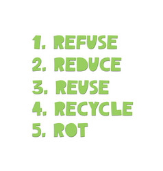 Refuse reduse reuse recycle rot - poster vector