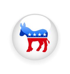 Round badge with democratic donkey symbol vector